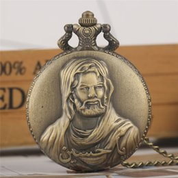 $enCountryForm.capitalKeyWord Australia - Bronze Jesus Design Quartz Pocket Watch Necklace Chain Watches Retro Steampunk Pendant Men Women Clock Birthday Gifts