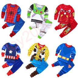 AmericA tutu online shopping - Baby Superhero Pajamas Children Avenger Iron Man Captain America Long Sleeves Tops Trousers sets Outfits Kids Clothing sets