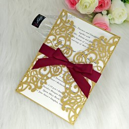 Wholesale Gold Laser Cut Wedding Invites Hollow Invitations Cards with Ribbon for Business Birthday Quinceanera Graduation Invitation