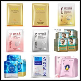 wholesale set collagen Australia - BIOAQUA Snail Mask Set Hyaluronic Acid Mask Moisture Hydrating Shrink Pores Repair Facial Skin Care DROP SHIPPING