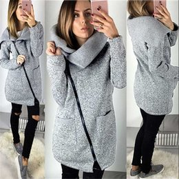Korean green jacKet online shopping - Winter Coat Women Wool Warm Coat Plus Velvet Sweater Side Zip Plus Size Long Korean Grey Jacket Thick Slim