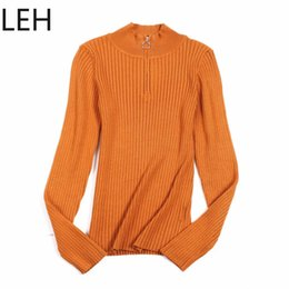 $enCountryForm.capitalKeyWord Australia - LEH Casual Zipper Sweater Women Turtleneck Solid Spring Autumn Female Knitted Sweater Pullovers Long Sleeve Chic Soft Jumper Top