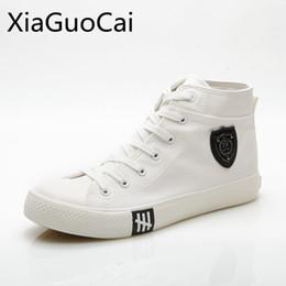 $enCountryForm.capitalKeyWord Australia - Soild High Quality Men Canvas Shoes Korean Models Lace Up High Top Canvas Shoes Men's Flat Pu Leather
