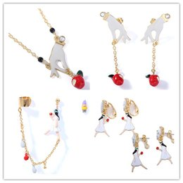 $enCountryForm.capitalKeyWord NZ - free shipping fashion simple Enamel glaze Snow White princess poison apple earrings necklace ear clip ears hang jewelry set