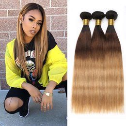 $enCountryForm.capitalKeyWord NZ - Malaysian Human Hair Bundles Ombre 1b 4 27 Three Tone Straight Hair Weft 3 Pc Bag Cheap Brown Blonde Malaysian Straight Hair Extensions