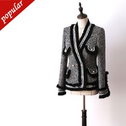 tassel fringe jacket NZ - Women Elegant Pearl Buttons Tweed Blazer Chains Fringe Tassel Jackets Outerwear Ladies Formal V-neck Coats Grey Jc2432