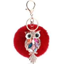 cute cats accessory Australia - Fashionable 8 Cm Fur Owl Key Button Furry Accessory Bag Plush Toys Hanger Animals Nature Plush Keychain Toys Cute Keychain