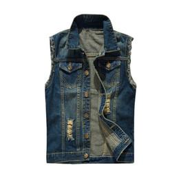$enCountryForm.capitalKeyWord Australia - Ripped Jean Jacket Men's Denim Vest Hip Hop Jean Coats Plus Size 6XL Waistcoat Men Hole Cowboy Sleeveless Jacket Male Tank