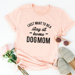 74f757b4c8c9 Amazon Fast-selling Women s Clothes Foreign Trade DOG MOM Letter Printed  Short-sleeved T-shirt Bottom Top in Europe and America