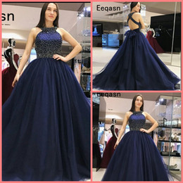 956e9f8fb4 robe de soiree Navy Blue ball gown Prom Dress 2019 Sexy Back Open Top  Pearls Tulle Long Dress Puffy Ball Gown Evening Dress prom gowns