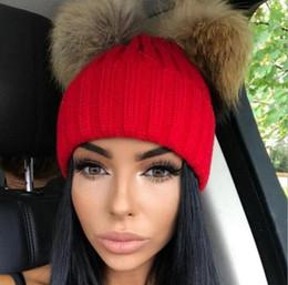 aa97aec13df Faux Fur Pompoms Australia - Women Faux Fur Pompom Hat Female Winter Warm Cap  Knitted Beanie