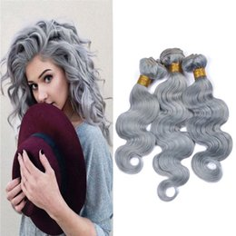 virgin hair thick ends 2019 - Sliver Grey Hair Bundles Weft Unprocessed Brazilian Virgin Human Hair Weave Grade 8A Quality Hair Extensions Weave Weft