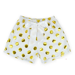 Infants Diaper Panties Australia - Baby Shorts Gold Dots Baby Girl Bloomers 2016 Summer Baby Panties Infant Diaper Cover with Big Bow Kid PP Pants Pompom Clothes