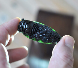 Carved Jade Red Pendants Australia - Chinese Exquisite green jade Hand-Carved pendant cicada