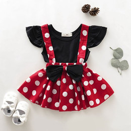 $enCountryForm.capitalKeyWord Australia - 2019 summer baby outfits little girls clothing sets toddler black tshirts + red white polka dot suspenders skirts childrens boutique clothes