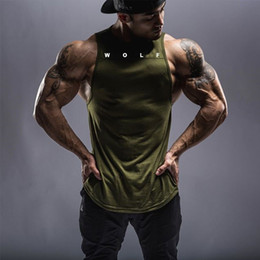 mens black vest yellow shirt Canada - Slim Fitness Mens Shirts Solid Color Gym Workout Singlet Casual Tank Tops Muscle Vest Tops Cool Streetwear Male
