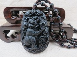 monkey carvings Australia - Jewelryr pearl Pendant New hand-carved zodiac monkey black obsidian pendant Free Shipping