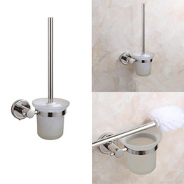 stainless cup holders Australia - Bathroom Toilet Brush Holders set Stainless Steel Wall-Mounted Single Brush Glass cup Holders Bathroom Hardware Accessories