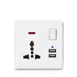 usb wall panel Australia - 13A white color Plastic panel 3 pin Universal wall socket and double USB wall outlet with white color push button