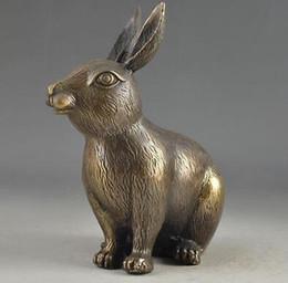 $enCountryForm.capitalKeyWord Australia - zhmui8800626702+<<+Hammered Chinese Brass Lifelike Old Collectable Handwork Rabbit Statue