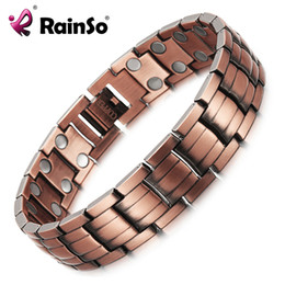 copper bracelets men Australia - Rainso Red Copper Magnetic Bracelet For Men Women 2 Row Magnet Healthy Bio Energy Bracelets & Bangles 2019 Father's Day Gift J190703