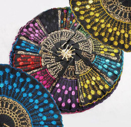 spanish lace hand fans Australia - Plastic Embroidered Sequins Folding Flower Lace Fan Dance Hand Fans Party Wedding Decor Dancing Supplies Spanish Style