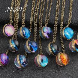 $enCountryForm.capitalKeyWord Australia - Vintage Solar System Galaxy Planet Universe Necklace For Women Men Double Sided Glass Ball Pendant Necklace 2019 Fashion Jewelry