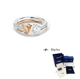 rose gold cluster engagement rings Australia - New Rose Gold Ring With Heart For Trendy Engagement Jewelry For Women Gift