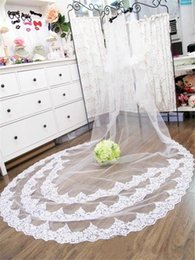 delicate lace Canada - New Best Selling delicate fashion Bridal Veils Two Layer Lace Applique Edge Cathedral Length White Ivory Meidingqianna Brand Alloy Comb