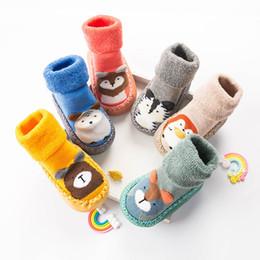 Boys Toddlers Socks NZ - Cartoon Baby Socks Winter Warm Newborn Baby Girl Boy Socks Anti Slip Infant Toddler Floor With Rubber Soles Sokken Meias