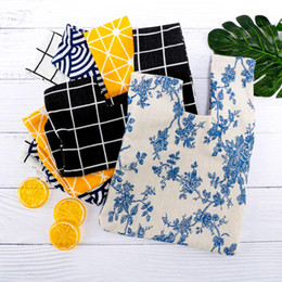 $enCountryForm.capitalKeyWord Australia - Japanese Style Wind Simple Knot Wrist Bag Grid Wave Flower Handmade Walking Cotton Bag Mobile Phone Key Lunch