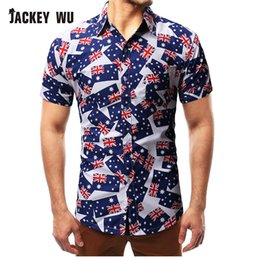04241150 JACKEYWU Hawaiian Shirt Men 2019 Summer USA Flag Print Short Sleeve Casual  Beach Shirts Breathable Camisas Men's Clothing