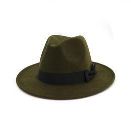 Green Wide Brimmed Hat UK - Army Green Brim Fedora Men Women Vintage Jazz Hats Fashion Stars Wool felt hat Unisex Black Felt Bowler Trilby