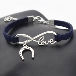 $enCountryForm.capitalKeyWord NZ - 9 Colors Dark Navy Leather Rope Charm Wrap Jewelry Women Men Silver Color Infinity Love Horseshoe Horse Hoof Pendant Cuff Bangles Bracelets