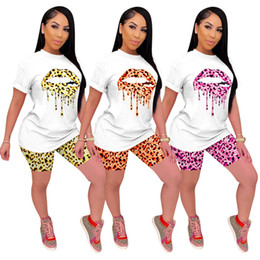 Women plus size print leopard t-shirt shorts outfits 2 piece set new style summer casual clothing short sleeve S-3XL capris DHL 3215 on Sale