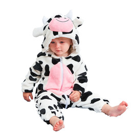 blue cow cartoon Australia - Baby Rompers Cow Boys Girls Clothes New Born Baby Cartoon Pajamas Warm Winter Animal Pajamas Roupas De Bebe Recem Nascido J190524