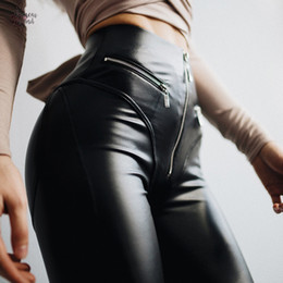 rubber leggings Australia - 2019 Women Rubber Leather Leggings With Front Zipper High Waist Push Up Faux Leather Pants Latex Sexy Pants Leggings