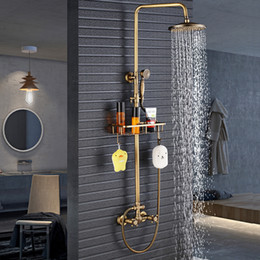Wholesale Modern antique brass Rainfall shower faucet mixer set with Bathroom Commodity Shelf and Hooks Shower Water Tap