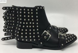 Spike Stud Boots Australia - 2019 ladies rivets ankle boots fashion women fashion boots black leather spike stud booties flat heel knight booties party shoes