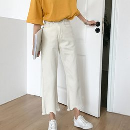 ankle loose jeans Canada - High Waist Denim Pants Women Notched Spring Long Straight Trousers Casual Loose Ankle-Length Jeans Pant Plus Size Slim Fit X079