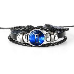 Personalized Bracelets Australia - DIY 12 Constellations Zodiac Gemini Time Gem Glass Cabochon Charm Bracelet Personalized Black Leather Rope Beaded Jewelry Gift for Women Men