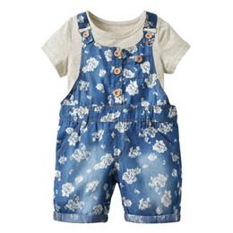 Best Wholesale T Shirts Australia - 2019 Summer girls clothes short sleeve cotton T-shirt+Denim suspender shorts Girls Outfits 2pcs Kids Sets Best Suits children clothing A2660