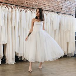$enCountryForm.capitalKeyWord Australia - New 2019 Short Wedding Dresses Strapless A Line Tea Length White Tulle Beach Bridal Dress Cheap Bridal Gown