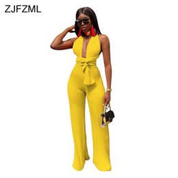 $enCountryForm.capitalKeyWord UK - ZJFZML Sexy Backless Lace Up Bodycon Jumpsuit Women Deep V Neck Sleeveless Party Club Bodysuit 2018 Casual Solid Wide Leg Romper