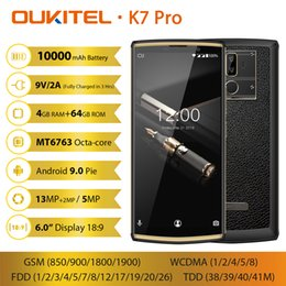 Chinese  Face ID OUKITEL K7 Pro 4GB 64GB 4G LTE 64-Bit Octa Core MTK6763 Android 9.0 13MP+2MP 2 Camera GPS Fingerprint 10000mAh Power Bank Smartphone manufacturers