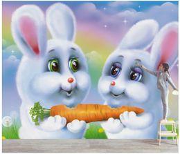 $enCountryForm.capitalKeyWord Australia - WDBH 3d wallpaper custom photo mural Cartoon cute little white rabbit children home decor living room 3d wall murals wallpaper for walls 3 d