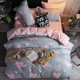 Black White Rose Bedding Australia - 2019 new home bedding grey heart Duvet cover set super king bedclothes stripe flat sheet Adults bedding cotton set bed linen