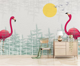 Solar Fiber Australia - Custom Size 3D Photo Wallpaper Mural Solar Flamingo Forest 3d Picture Kids Room Sofa TV Backdrop Mural Home Decor Creative Hotel Wallpaper