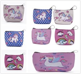 coin holder wholesale UK - Coin Creative Mini Unicorn Pattern PU Wallets Holders Zipper Purses Party Home Lovely Gifts Free Shipping