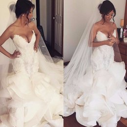$enCountryForm.capitalKeyWord NZ - Hot Fashion Mermaid Wedding Dresses Sweetheart Heavy Bodice Organza Ruffles Plus Size Wedding Dress Bridal Gowns Pearls Beaded Lace Up Cheap